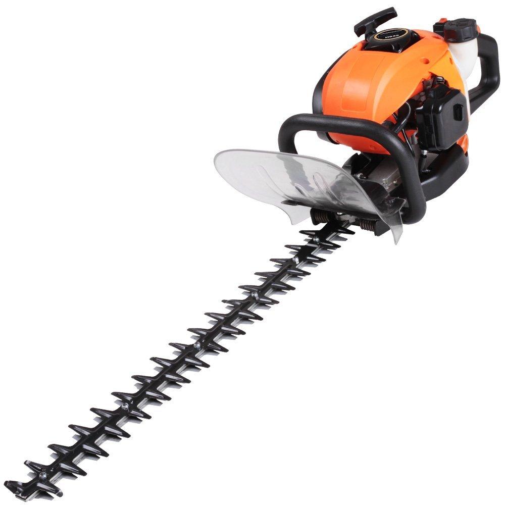 Timbertech Heckenschere Schwarz–Orange mit durchsichtigem Display-Schutz–Zwei-Takt, luftgekühlt, Zylinder Motor Chrom–Maximale Geschwindigkeit: ca. 8500RPM