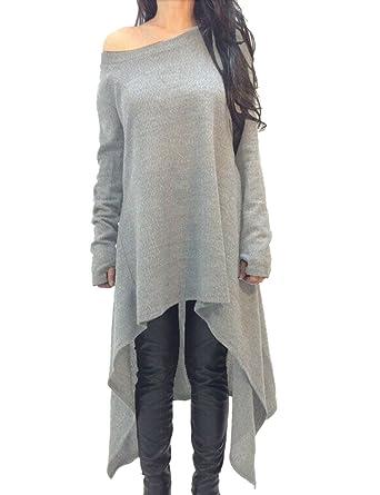 1729eaf403b8b Yidarton Womens Loose Long Sleeve Asymmetric Jumper Dress Ladies Casual One  Shoulder Top Plus Size Mini Dresses(Grey