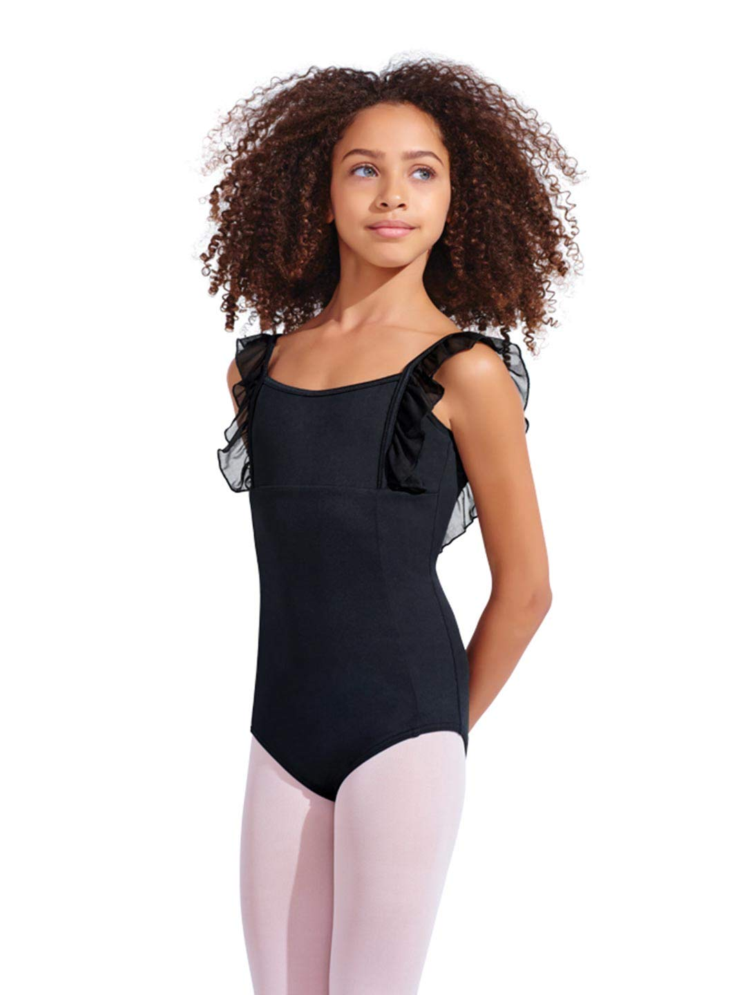 Capezio Girls' Big (7-16) Anastasia Leotard, Black, Large (10-12) by Capezio