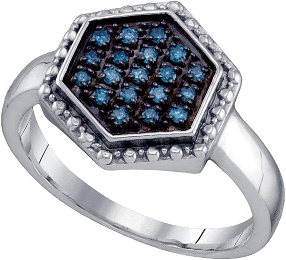 Sterling Silver Round Blue Diamond Hexagon Cluster Ring 0.18 Cttw