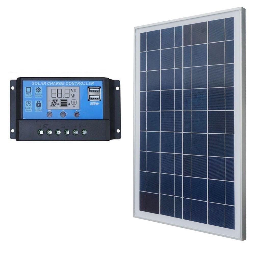 ECO-WORTHY 25W Solar Panel System Kits:25Watts Solar Module & 20A PWM Controller Boat Car