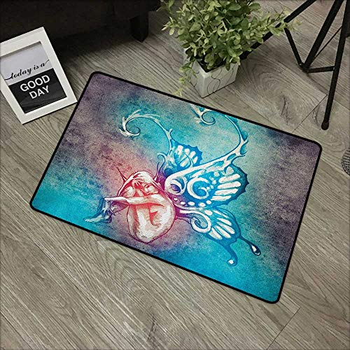 Jumbo Butterfly Wings - Buck Haggai Printing Door Mat Butterfly,Fairy with Butterfly Wings Renewal Female Rebirth Psyche Lightness of Being, Blue Purple,XL Jumbo, No Phthalate, Water Resistant, 35
