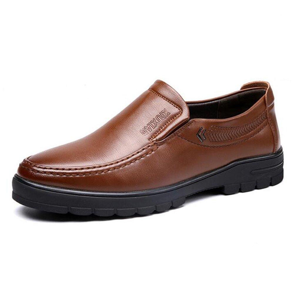 Zapatos de Cuero de los Hombres Zapatos Planos de la Suela de los Holgazanes Hermosos Cómodos de la PU para los Caballeros ! 44 EU|Marrón