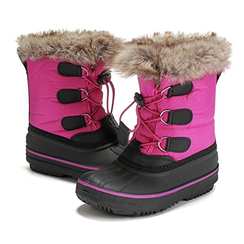 e60e9fcfe82 DRKA Toddler Snow Boots for Kids Boy Girls, Waterproof Insulated Rubber  Warm Soft Winter Shoes for Outdoor Cold Weather