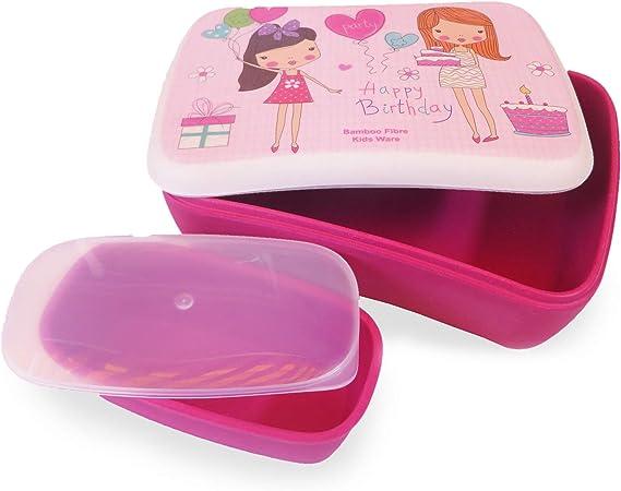 Conjunto Sandwichera y Tupper de bambú. Material ecológico sin BPA, Apto para lavavajillas. Lonchera Infantil, niños, bebé (Niñas): Amazon.es: Hogar
