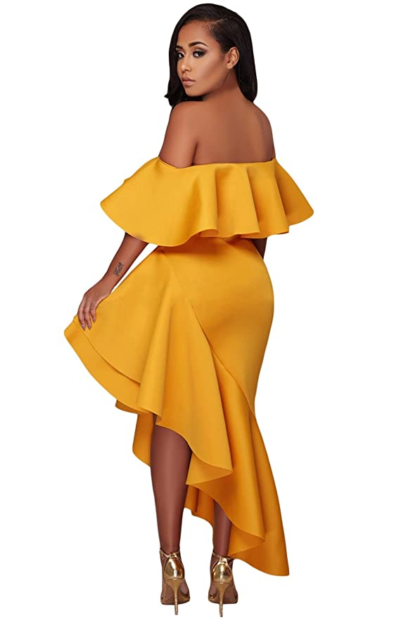 Smilady Yellow Asymmetric Ruffle Off Shoulder Party Dress at Amazon Womens Clothing store: