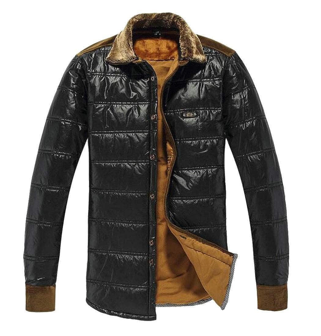 Spirio Men Warm Fleece Linen Long Sleeve Quilted Buttons Casual Shirts