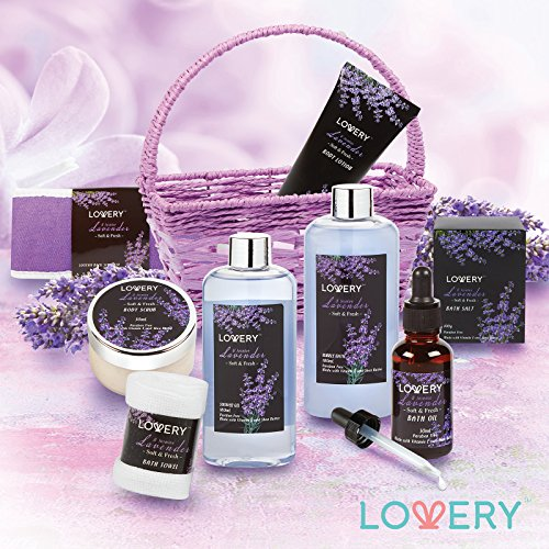 Home Spa Gift Basket, 9 Piece Bath & Body Set for Women and Men, Lavender & Jasmine Scent - Contains Shower Gel, Bubble… 2