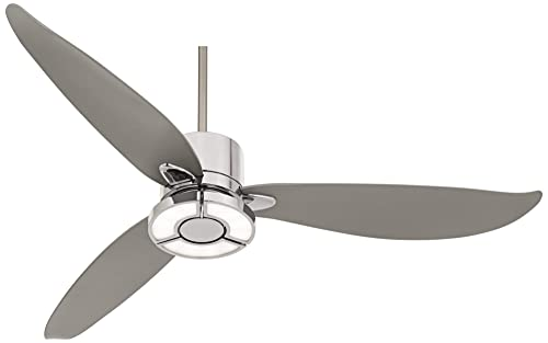 56 Vengeance Modern Ceiling Fan with Light LED Remote Control Chrome Curved Blades for Living Room Kitchen Bedroom – Possini Euro Design