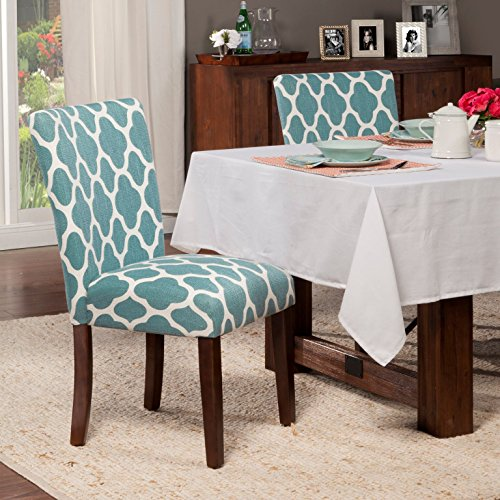 HomePop Parsons Classic Upholstered Accent Dining Chair, Set of 2, Teal and Cream Geometric by HomePop (Image #3)