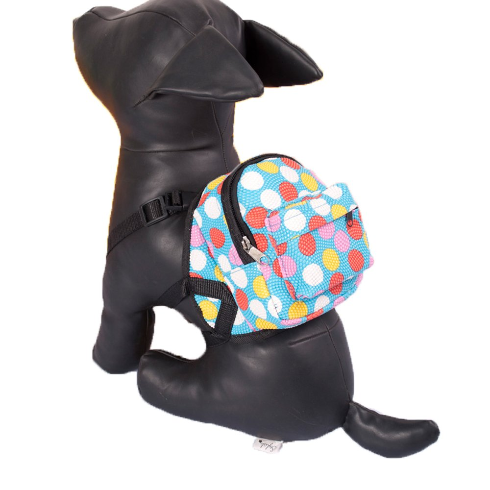 Porlik Dog Backpack Harness with Leash Set, Multicolor Dots Backpack Design Outdoor Rucksack Zipper Daypack, Fits to Small Medium Dogs.