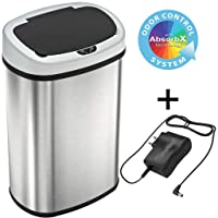 SensorCan 13 Gallon Battery-FREE Automatic Sensor Kitchen Trash Can with Power Adapter...