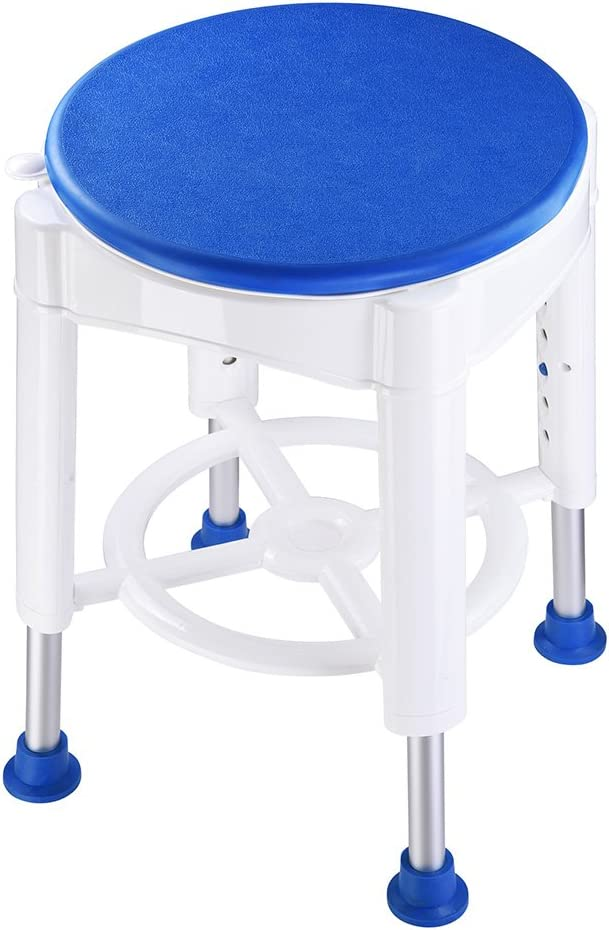 B07GMRZQ3Z Medical Bathroom Stool Shower Chair Aluminum Frame Slid-Proof Rubber Tip 360 Degree Rotating Adjustable Seat Height 61YnGqLpDFL.SL1000_
