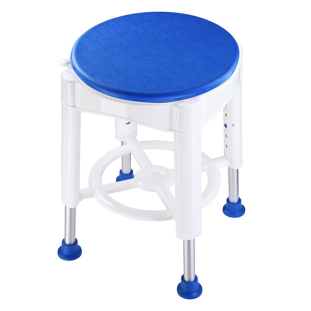 AW 14'' Adjustable Medical Bath Stool Bathroom Safety Shower Stool Swivel Chair with Rotating Seat Aluminum by AW (Image #3)