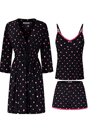 005088afdf SofiePJ Women s Printed Robe Set with Chemise and Shorts 3 Piece Sleep  Loungewear Black Hot Pink