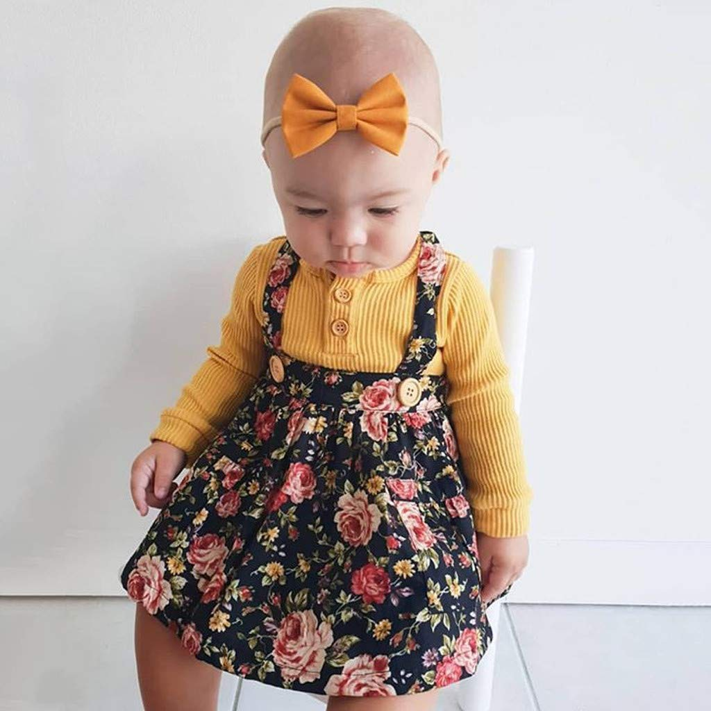 Voberry Completini e Coordinati per Neonato Bambino Set di Abiti da Bambina per Bambini Maglie a Manica Lunga per Bambina Abito con Stampa Floreale Fascia per Capelli