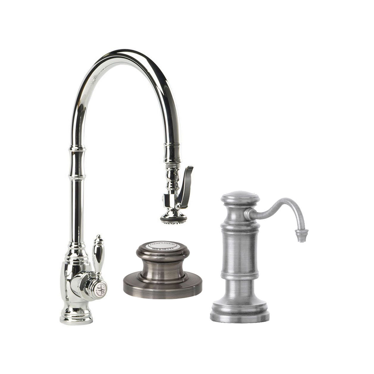 Waterstone 5500-3-SN Annapolis Single Handle Kitchen Faucet with Pull Out Spray, Soap Dispenser and Air Switch, Satin Nickel