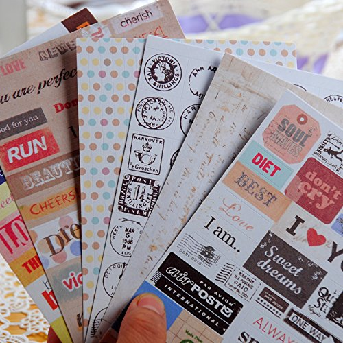 6 Sheets Retro Paper Sticker Signpost Sticker Line Tape,Message,Stamp,Graffit,Diary Stickers, Journal Stickers