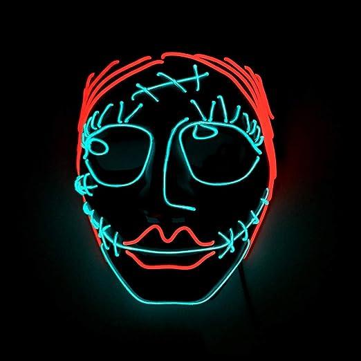 SAILORMJY Máscara Led De Halloween, Máscara De Purga Led De Miedo ...