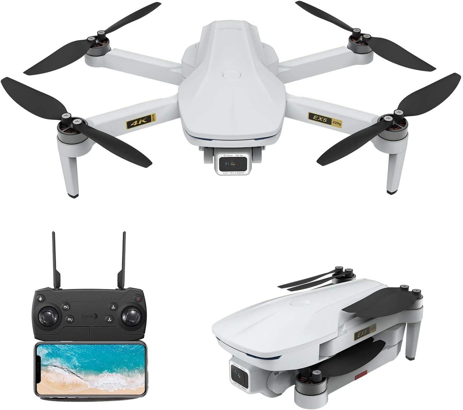 EACHINE EX5 GPS Mini Drone wif 4K UHD Camera for Adults 5G GHz WiFi FPV Floadbale Drones Quadcopter wif Brushless Motor 1000m Control Range, 30 Mins Flight Time,Auto Return Home, Follow Me