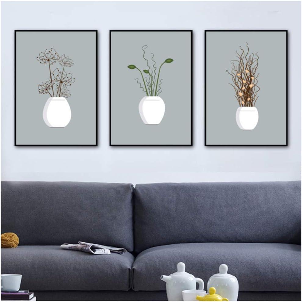 Planta en maceta Flor Arte de la pared Pintura de la lona Carteles e impresiones nórdicos Cuadros de pared para sala de estar Impresión del arte de la lona