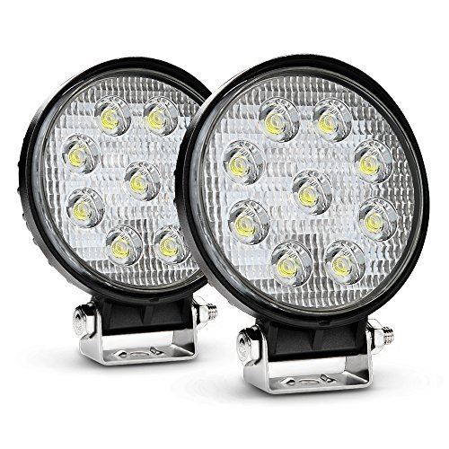 Nilight 2PCS 27W Round Flood LED Light Bar Driving Lamp Waterproof Jeep Off Road Fog Lights for Truck Car ATV SUV Jeep Boat 4WD ATV, 2 Years Warranty (Car Fog)