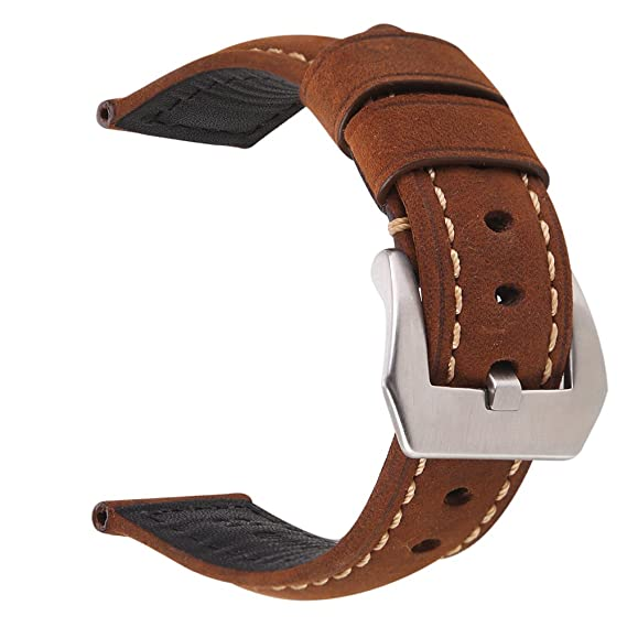 161619f69 EACHE 24mm Genuine Leather Watch Band Dark Brown Crazy Horse Leather Wrist  Straps with Silver Buckle