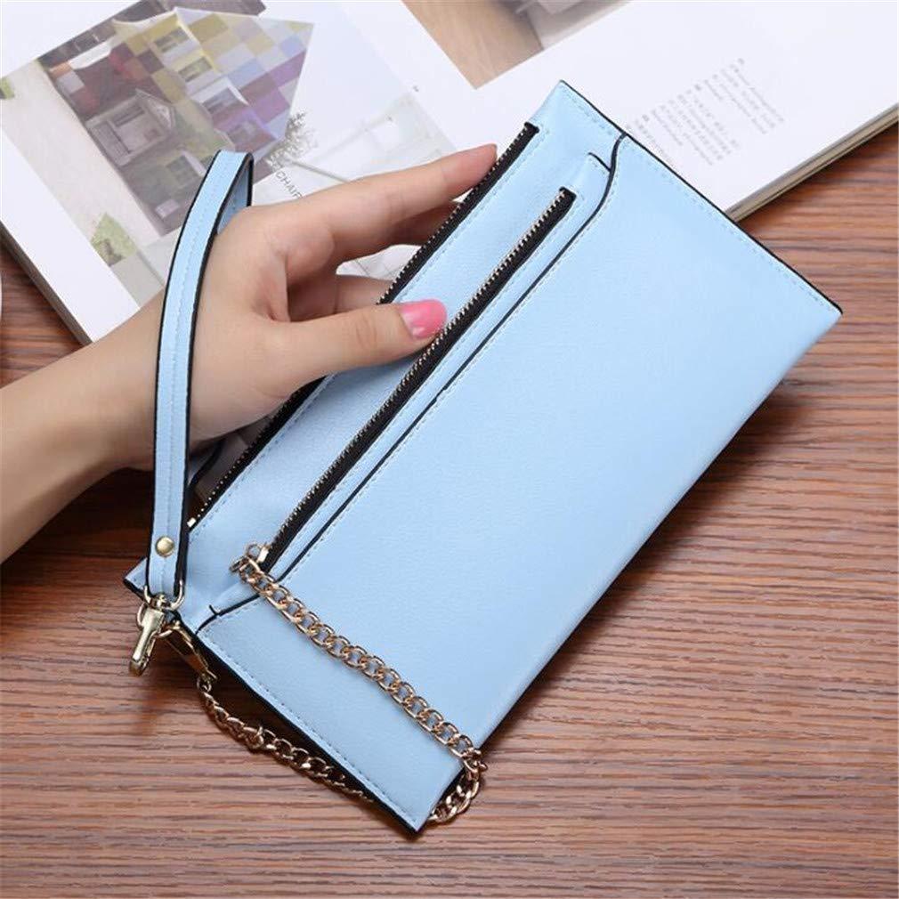UINKE Women Long Wallet Daily Purse Card Organizer Ladies Clutch with Wrist Strap Zipper,Blue