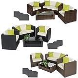 TecTake Set di mobili rattan alluminio arredamento giardino + 4 cuscini extra - disponibile in diversi colori - (Marrone Antico)
