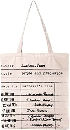 Funny Literary Theme Jane Austen Natural Cotton Canvas Reusable Tote Bag | Cute Eco-Friendly Library Card Cotton Tote Bag School Shoulder Bag Gifts for Bookworm Librarian Teens Women Friends Kids