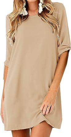 OUFour Verano Vestidos Mujer de Camisas Colores Lisos Suelto Corto Vestido de Playa Casual Cuello Redondo Media Manga Mini Camisas Vestido: Amazon.es: Ropa y accesorios