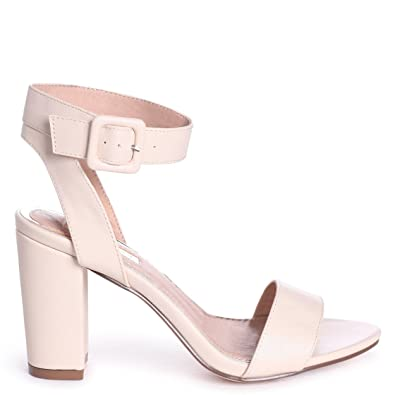 0ee5cc5695 Linzi Millie - Beige Nappa Open Toe Block Heel With Ankle Strap and Buckle  Detail: Amazon.co.uk: Shoes & Bags