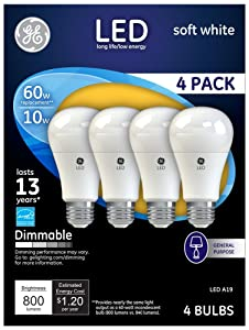 60W Equivalent GE Frosted 10W LED Dimmable Standard 4-Pack