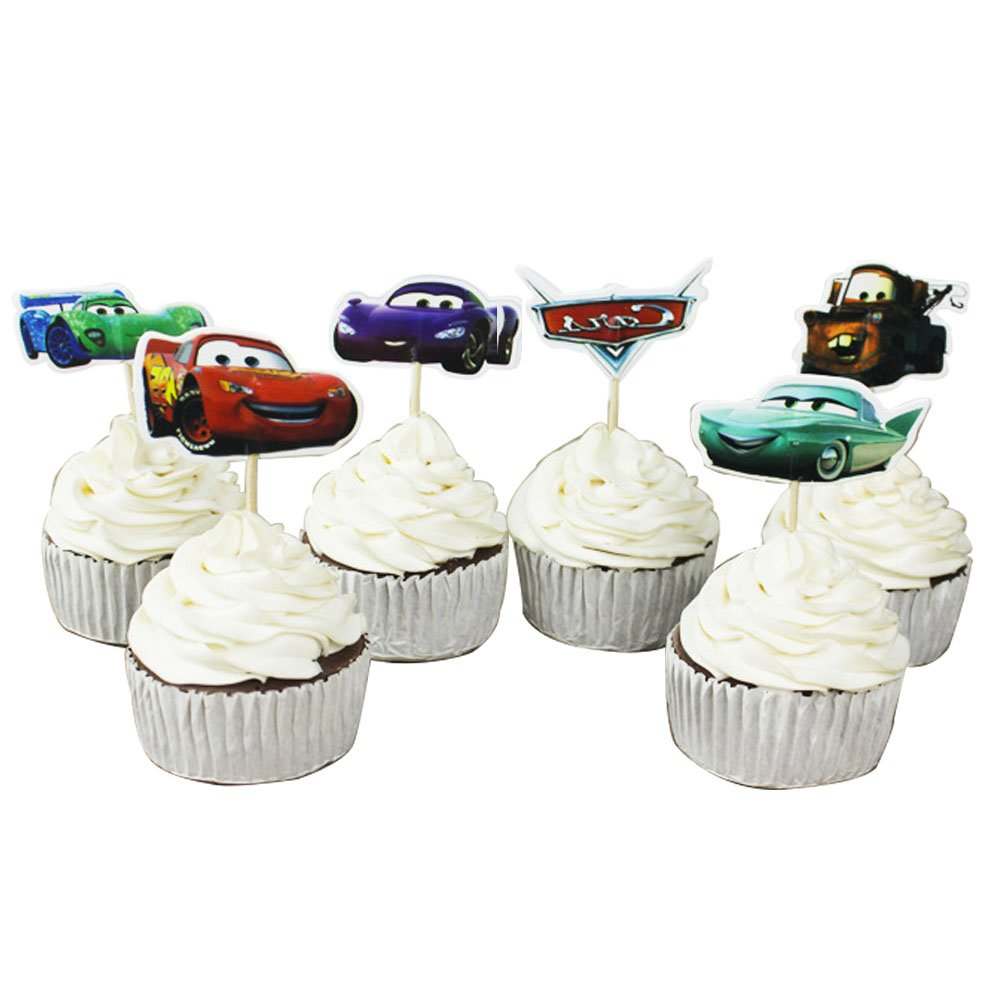 Betop House Set of 24 Pieces Cars Themed Decorative Cupcake Topper for Kids Birthday Party Baby Shower