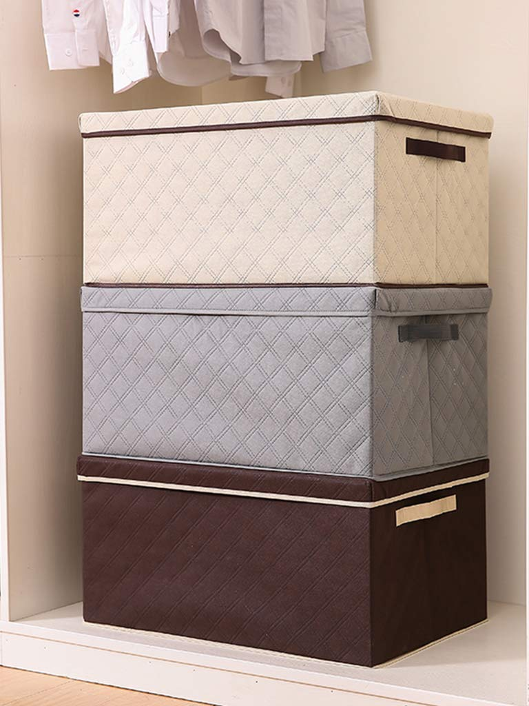 Respirable Cajas de Almacenamiento con Asas Plegable Grande Cestas de Almacenamiento,Brown/_35x28x18cm YGUOZ Plegable Cubo Compartimiento de Almacenamiento Tejido
