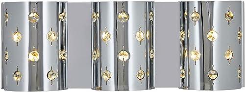 Polished Chrome Glass Beaded Triple Light Fixture Sconce Bathroom Hall or Vanity LED Wall Lighting