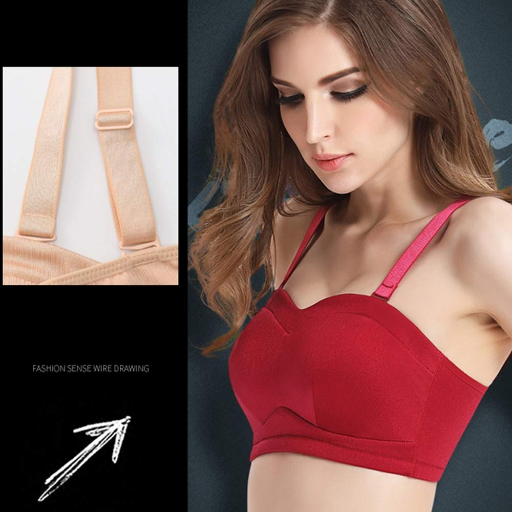 WORM ROOM Womens Everyday Bras Wirefree 3 Rows of Buckles Super Comfort Bra Removable Pads Plus Size Sleep Bras