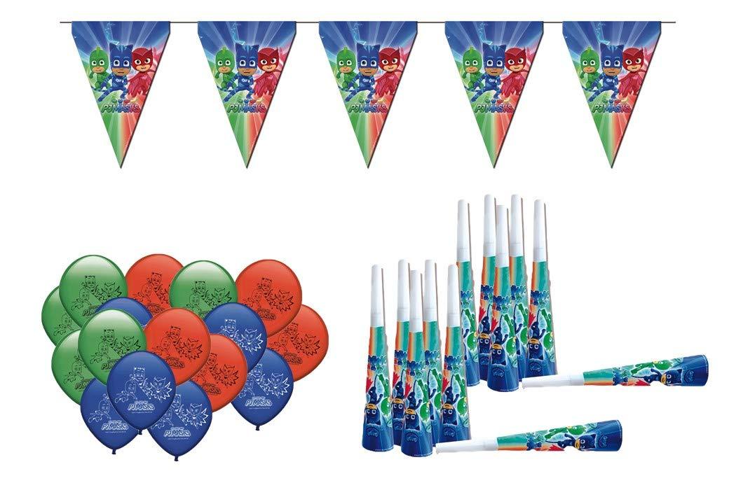 ALMACENESADAN 0471, Pack DÃcoration Anniversaire Masques PJ, 16 Ballons, 12 trompettes, 1 Fanion Lady Bug 3 mèTres linÃaires Pack DÃcoration Anniversaire Masques PJ 1 Fanion Lady Bug 3 mÚTres linÃaires