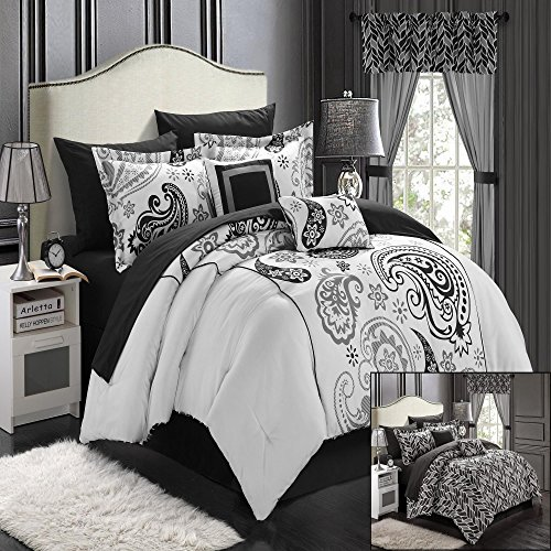 Olivia Paisley Print Black & White Queen 20 Piece Mega Comforter Bed In A Bag Set