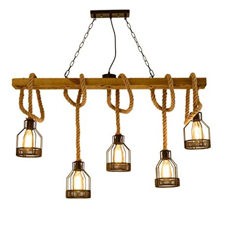 Vintage lámpara colgante, cáñamo cuerda retro araña, estilo ...