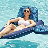 Aqua Campania Convertible 2 in 1 Recliner & Tanner Lounge with Adjustable Backrest and Caddy, Inflatable Pool Float, Navy