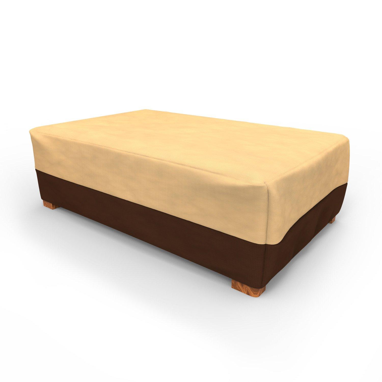 Budge All-Seasons Patio Ottoman Cover / Coffee Table Cover, Large (Khaki Brown)