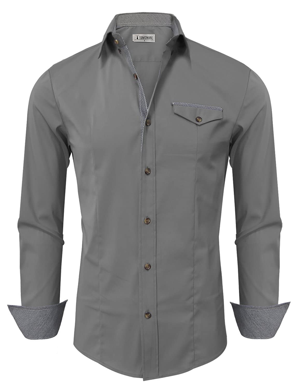 TAM WARE Men Classic Contrast Slim fit Long Sleeve Shirt TWNEL565S