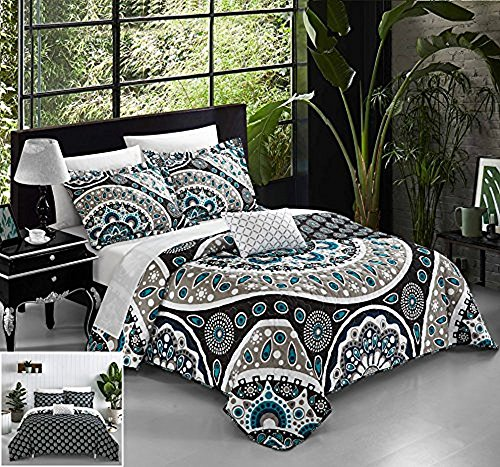 Paisley Chic (Chic Home 4 Piece Lacey Large Scale Contempo Bohemian Reversible Printed with Embroidered Details. King Duvet Cover Set Black)