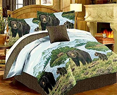 Rustic Cabin Lodge BLACK BEAR & CUBS Comforter Set w/Sheets (Bed In A Bag)