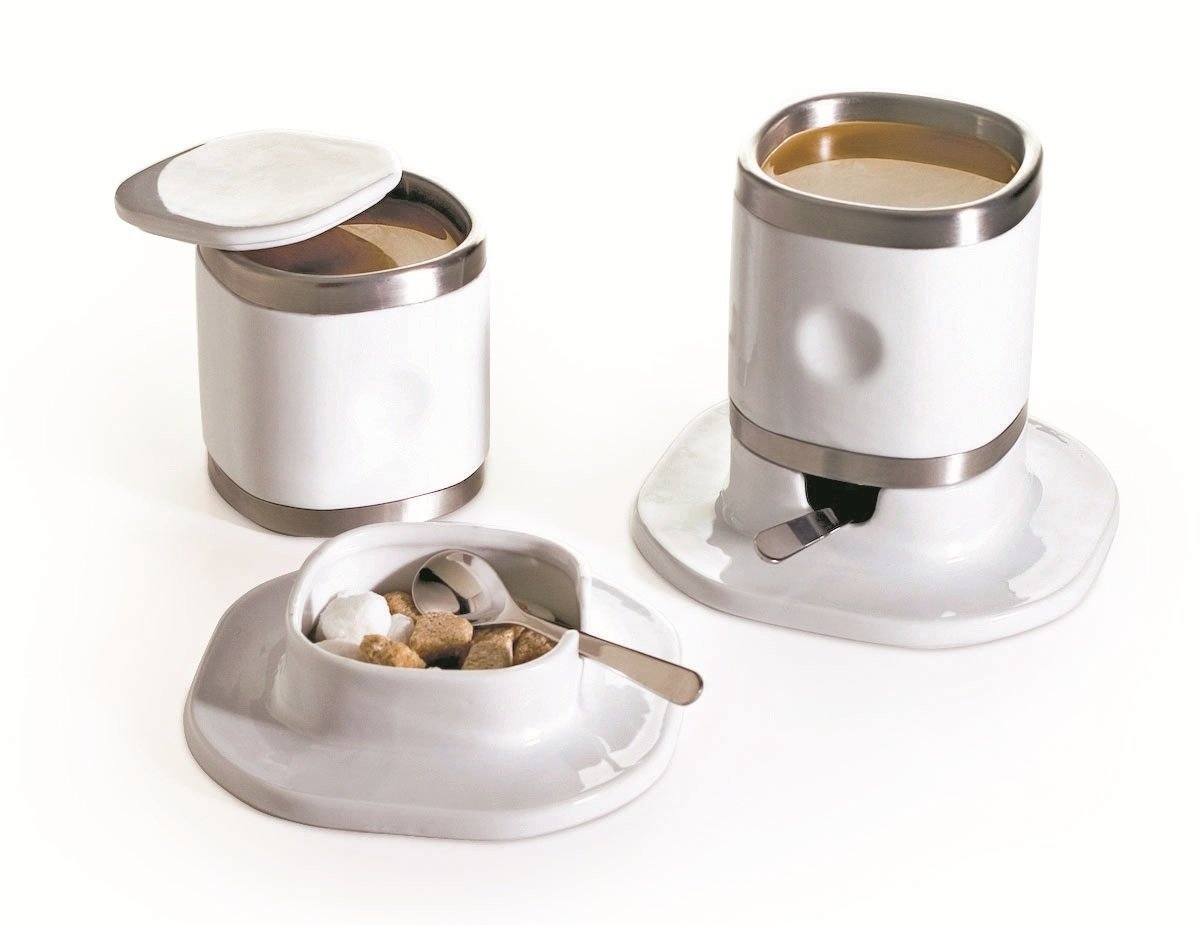 Miam.Miam Stainless Steel & Porcelain Cappuccino Tower - 8pc Cup & Saucer Set