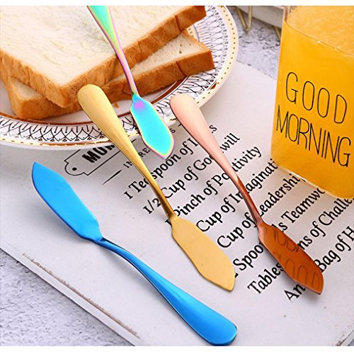 for Bread Cake Luxury Quality Tool Flatware Yeefant Upscale Handle Dessert Dinnerware Cutlery Cream Steel Baking Cheese Butter Spatula Stainless Mould Sterling Blue Kitchen Gold HR6WyS6q