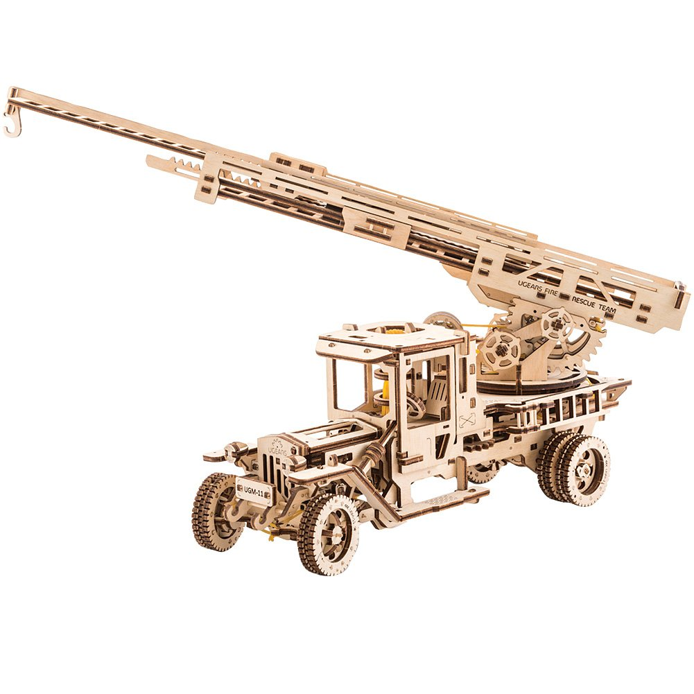 UGEARS Wooden 3D Fire Truck Model Kit - Lever Operated Rotatable Retractable Ladder