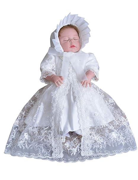 Zhhlinyuan Niñas Bebés Cordón Bowknot Bautizo Fiesta de Cumpleaños Vestido - Recién Nacido Princesa Boda Vestidos