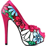 Show Story Floral Print Bow Peep Toe Platform High Heels Stiletto Pumps,LF80802
